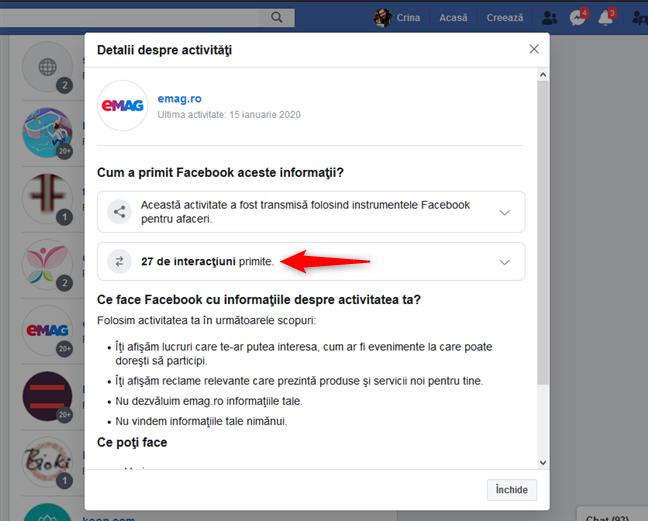 Interacțiuni cu un site web care au fost înregistrate de Facebook