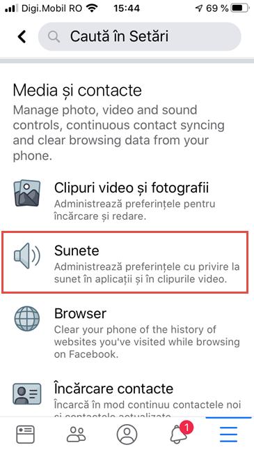 Facebook pentru iPhone - Apasă pe Sunete