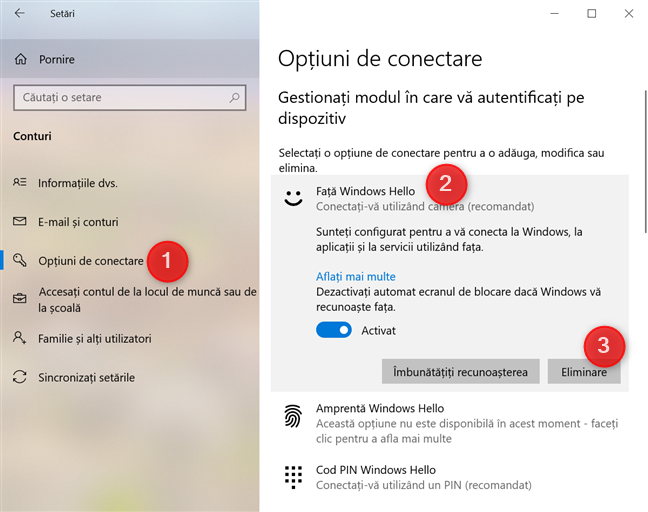 Dezactivare Față Windows Hello
