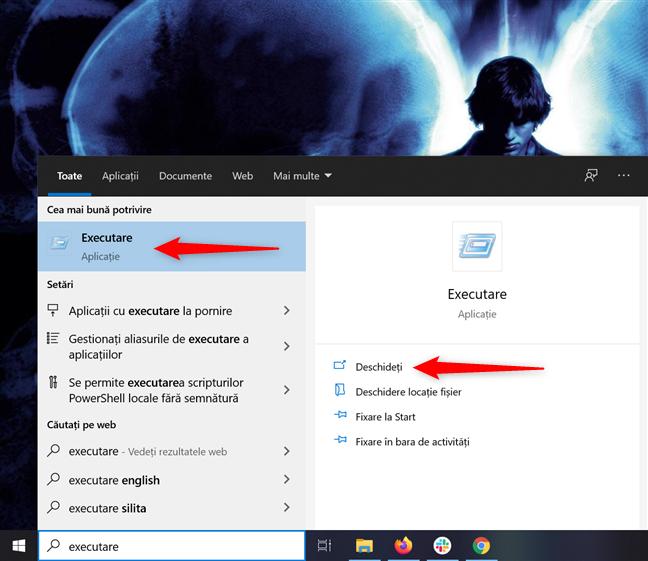 Accesează fereastra Executare din caseta de căutare în Windows 10