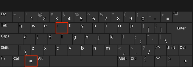 Apasă simultan tastele Windows și R