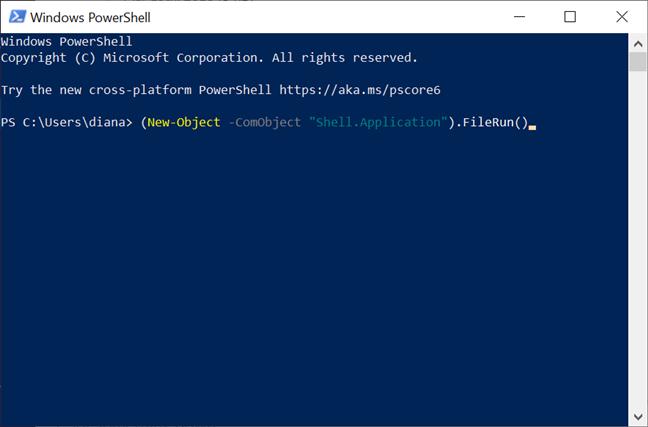 Introdu comanda în PowerShell