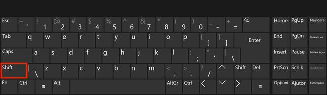 Folosește tasta Shift și dă clic sau atinge
