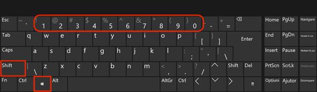 Ține apăsat Windows și Shift în timp ce apeși pe numărul aferent