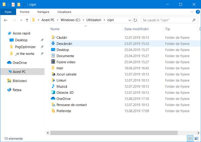 Folderul de utilizator al contului tău