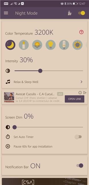 Aplicații de lumină de noapte pentru Android: Blue Light Filter - Night Mode, Night Shift