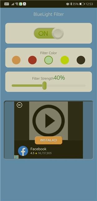 Aplicații de lumină de noapte pentru Android: Bluelight Filter - Night Mode