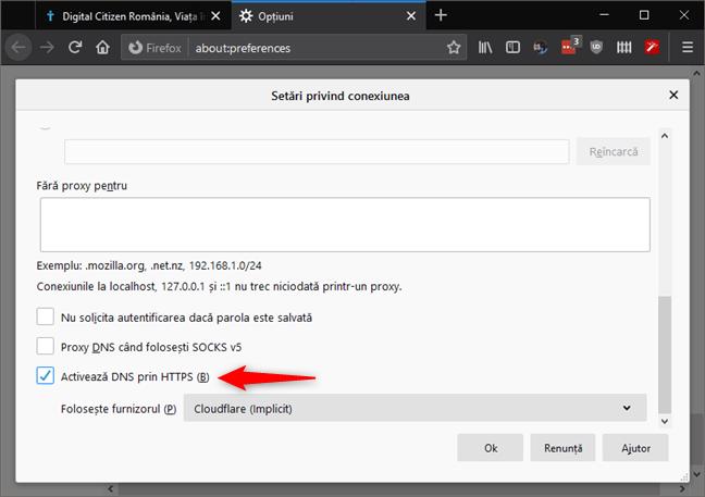 Setarea DNS prin HTTPS din Setările privind conexiunea din Firefox