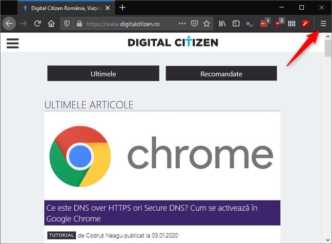 Butonul de meniu din Firefox
