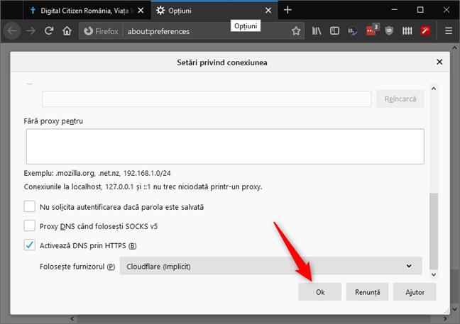 Apăsarea pe OK salvează modificările (nu este necesară repornirea browserului)