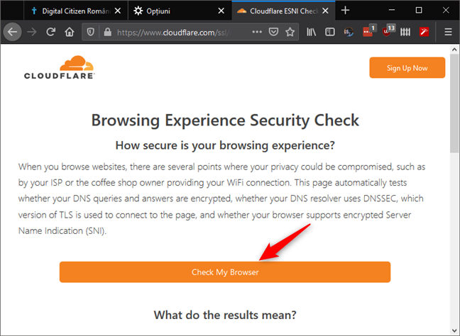 Pagina web Cloudflare Browsing Experience Security Check