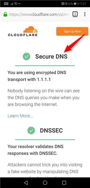 Firefox pentru Android folosind DNS prin HTTPS
