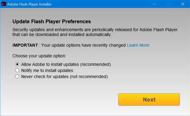 Alege cum se comportă actualizările de Flash Player