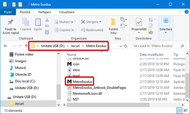 Fișierul executabil pentru jocul Metro Exodus în Windows