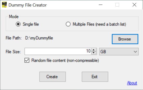 Personalizează fișierul tău dummy și apasă pe Create
