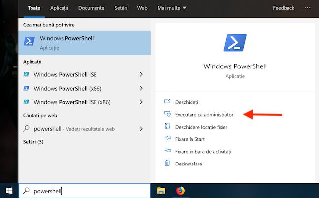 Deschide PowerShell din bara ta de activități