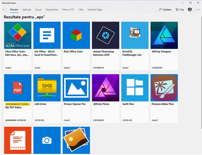 Microsoft Store îți arata ce aplicații deschide formatul .eps