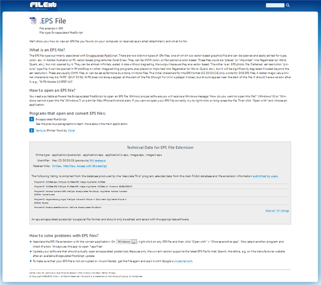 Pagina de detalii a unei extensii de fișier, pe saitul FILExt