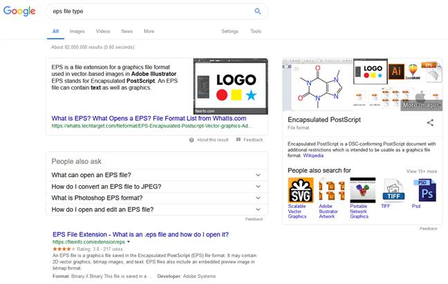 Căutare pe Google după informații despre o extensie de fișier necunoscută