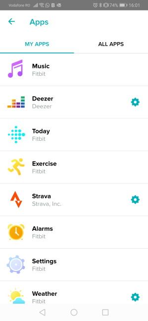 Aplicațiile instalate pe Fitbit Versa 2