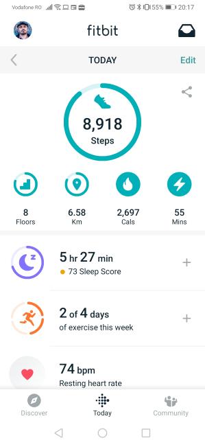 Aplicația Fitbit