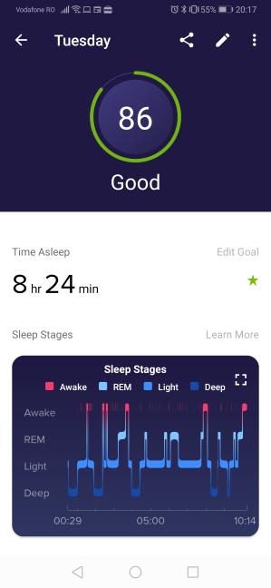 Sleep Score (Nota somnului) calculată de Fitbit