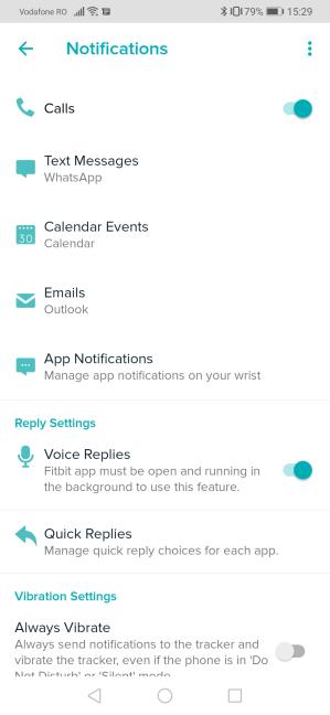 Configurarea notificărilor pe Fitbit Versa 2