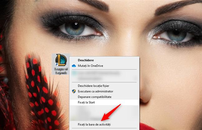 Fixarea unei scurtături de pe desktop pe bara de activități