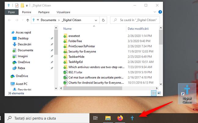 Scurtătură către un folder fixată pe bara de activități
