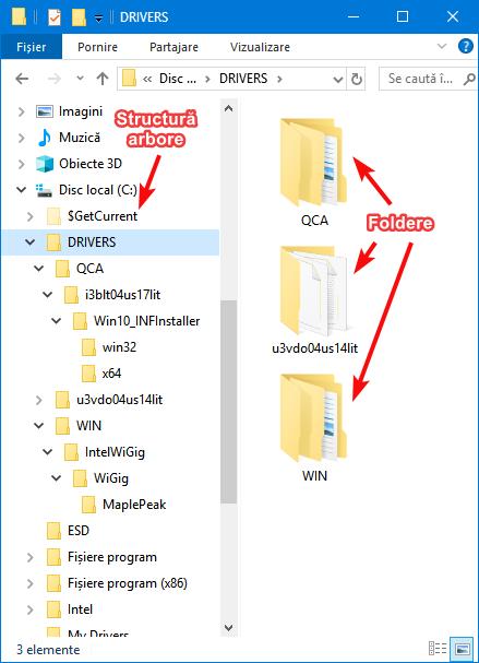 Structura de arbore (tree) și foldere în File Explorer