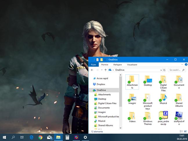 Foldere stocate în OneDrive