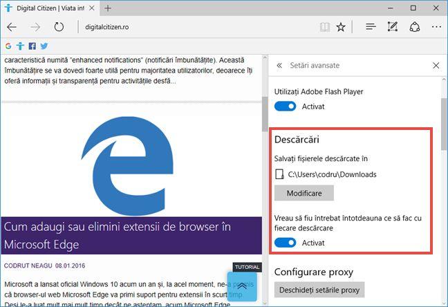 Microsoft Edge, download, folder, descarca, setari, Windows 10