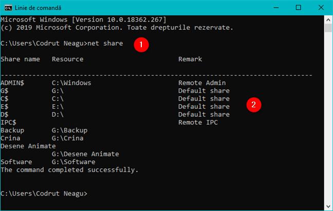 Comanda net share afișează lista de foldere partajate