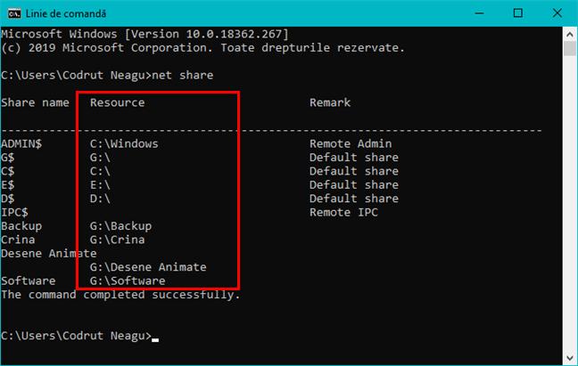 Comanda net share îți spune calea fiecărui folder partajat