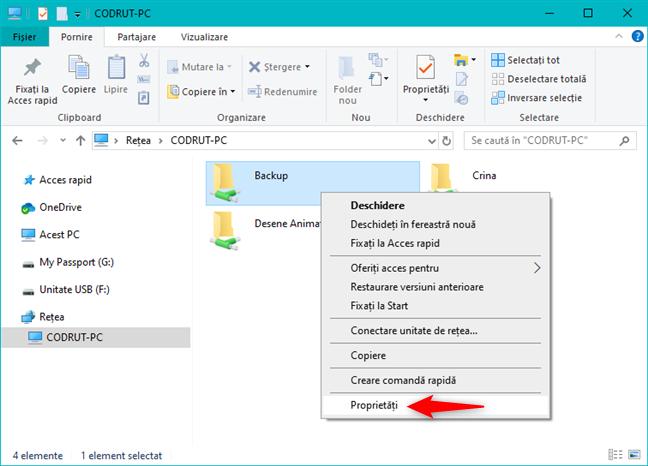 Opțiunea Proprietăți din meniul contextual al unui folder partajat