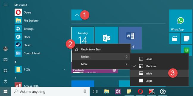 Windows 10, Meniul Start, foldere