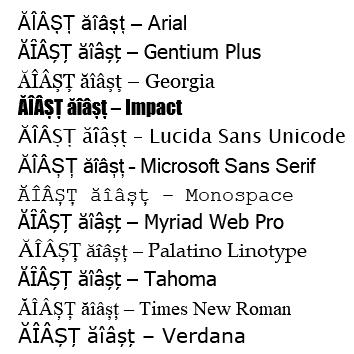 Exemple de fonturi cu diacritice