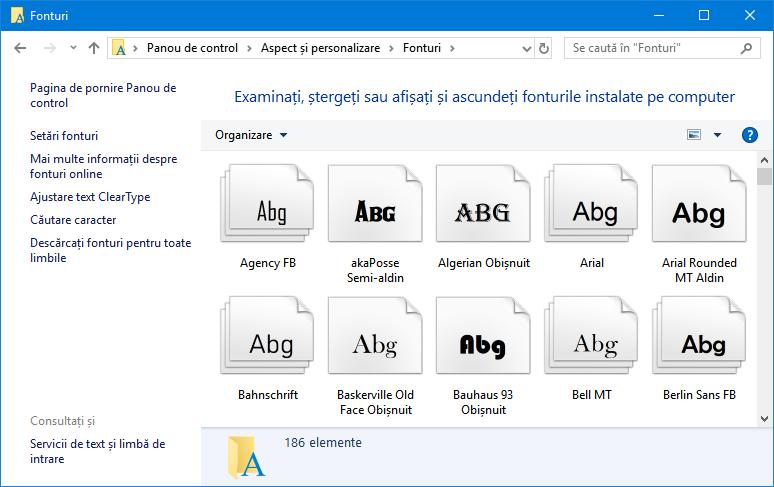Fonturi instalate în Windows