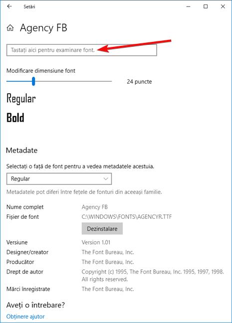 Tastați aici pentru examinare font