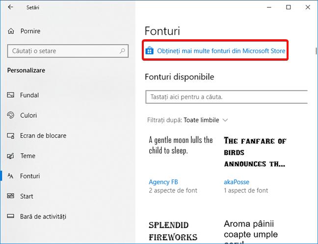 Legătura folosită pentru a obține mai multe fonturi în Microsoft Store