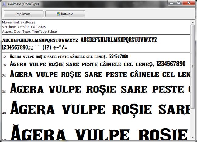 Examinează un fișier cu fonturi