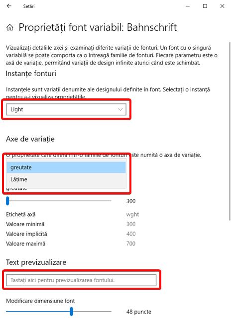 Proprietăți font variabil în Windows 10