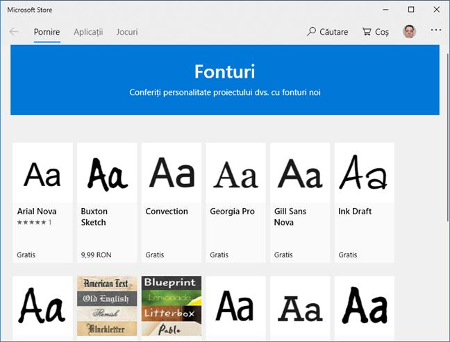 Secțiunea de Fonturi în Microsoft Store