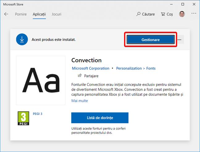 Pagina de font pentru un font instalat în Microsoft Store