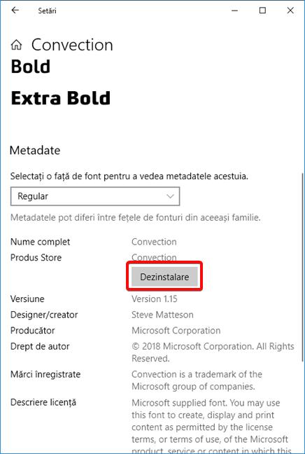 Dezinstalează un font din Windows 10