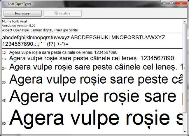 Vizualizează un font instalat