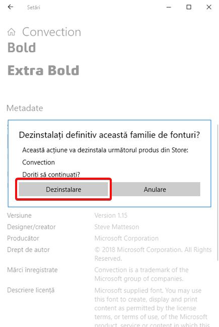 Confirmă pentru a dezinstala un font din Windows 10