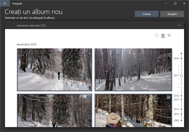 Adăugarea de fotografii și clipuri video la un album nou