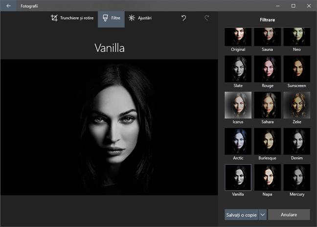 Editorul inclus în Fotografii oferă toate instrumentele, filtrele și ajustările esențiale