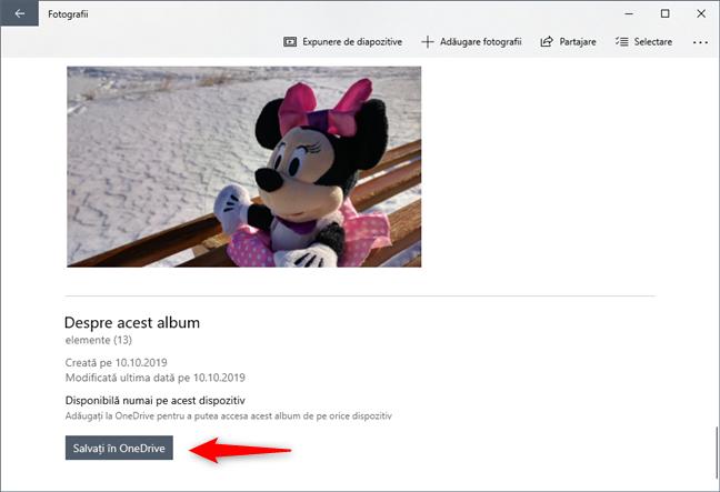 Salvarea unui album foto în OneDrive